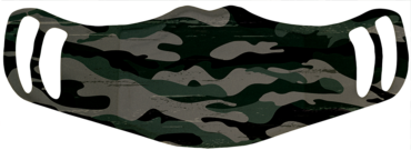 A washable and reusable polyester camouflage pattern printed cloth face mask with two ear holes by each side